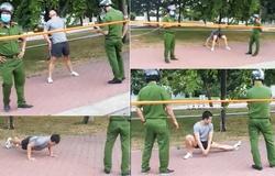 Chàng trai không đeo khẩu trang, thản nhiên tập thể dục trước mặt công an
