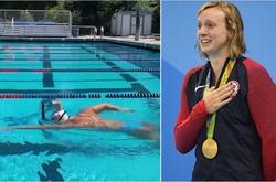 Siêu kình ngư Mỹ Katie Ledecky với thách thức bơi cùng ly sữa trên đầu!