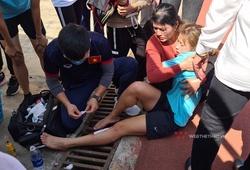 Nữ VĐV Hà Nội khóc ngất vì rách chân do thụt cống thoát nước sân Mỹ Đình