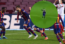 CĐV Barca thích thú với phản ứng của Messi sau khi Pique ghi bàn