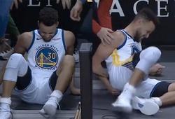 Video: Stephen Curry ngã đập xương cụt ngoài đường biên, rời sân trong chiến thắng Houston Rockets
