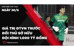 Nhịp đập Thể thao 30/08: ĐT Việt Nam có giá trị bao nhiêu trước đội thủ có đội hình 1000 tỷ đồng?