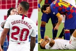 Messi may mắn thoát thẻ đỏ sau khi đụng độ với cầu thủ Sevilla