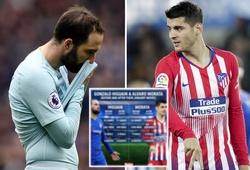 """Choáng với thống kê phong độ tệ hại của Higuain ở Chelsea so với """"chân gỗ"""" Morata ngày nào"""