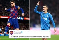 """Barca """"troll"""" Ronaldo sau khi bị Messi qua mặt về thành tích ghi bàn"""