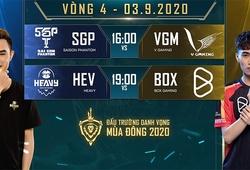 Kết quả Liên Quân DTDV Mùa Đông 2020 hôm nay 3/9: SGP hạ ngựa ô VGM