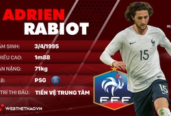 Thông tin cầu thủ Adrien Rabiot của ĐT Pháp dự World Cup 2018