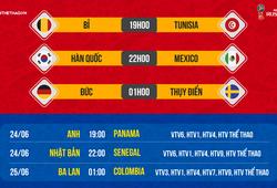 Lịch thi đấu World Cup 2018 mới nhất hôm nay 23/06