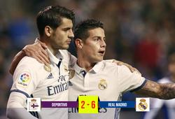 """Video: """"Kép phụ"""" giúp Real Madrid dội mưa bàn thắng vào lưới Deportivo"""