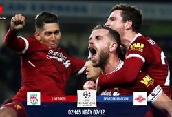 Link xem trực tiếp bóng đá C1 trận Liverpool - Spartak Moscow