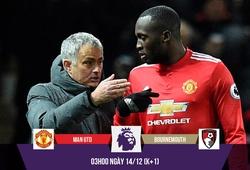 Mourinho tuyên bố Lukaku sẽ ghi bàn trận MU - Bournemouth