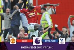Trực tiếp trận Man Utd - Palace: Lukaku xác lập kỷ lục, MU đại thắng