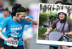 """Á hậu Tú Anh mắc cỡ khi được Phillip Nguyễn """"hộ tống"""" ở HCMC Marathon"""