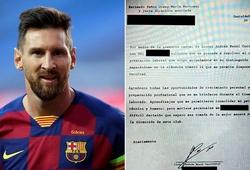 Bản burofax đòi rời Barcelona của Messi được công bố