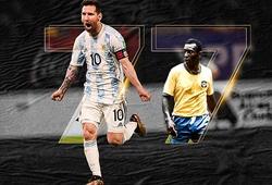 Messi san bằng kỷ lục bàn thắng của Pele với đội tuyển