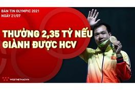 Bản tin Olympic 2021 ngày 21/7: VĐV Việt Nam được tăng mức thưởng HCV