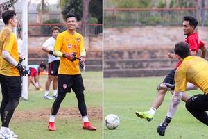 """Đặng Văn Lâm """"đối đầu"""" 2 thủ môn còn lại của Muangthong Utd trên sân tập"""