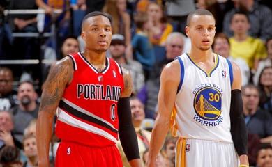 Curry và Lillard thách nhau solo ném giữa sân