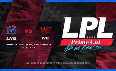 Trực tiếp LPL Mùa Xuân 2021 hôm nay 24/1: WE vs LNG