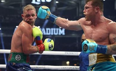Canelo Alvarez knockout kĩ thuật Billy Joe Saunders bằng cú móc rách mắt