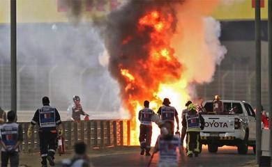 Tai nạn kinh hoàng lấn át kỷ lục của Lewis Hamilton ở Bahrain Grand Prix