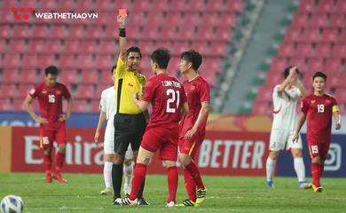 Nhận thẻ đỏ trận gặp U23 Triều Tiên, Đình Trọng bị treo giò ở trận đấu của ĐTQG