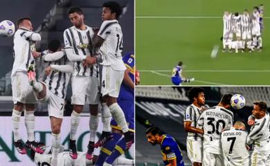 Ronaldo che mặt làm hàng rào khiến Juventus để lọt lưới