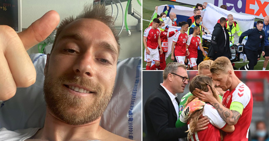 Christian Eriksen xuất hiện sau sự cố đau tim ở trận Đan Mạch – Phần Lan
