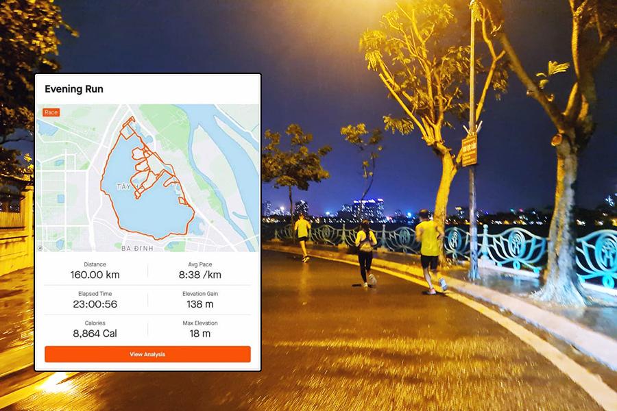 Kỷ lục chạy 160km 10 vòng Hồ Tây dưới 24 giờ