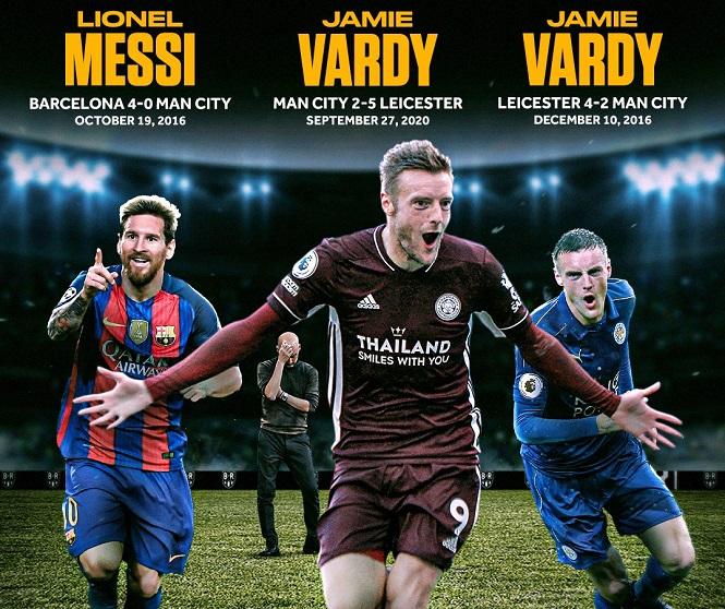 Vardy vượt qua Messi với kỳ tích có một không hai trước Guardiola