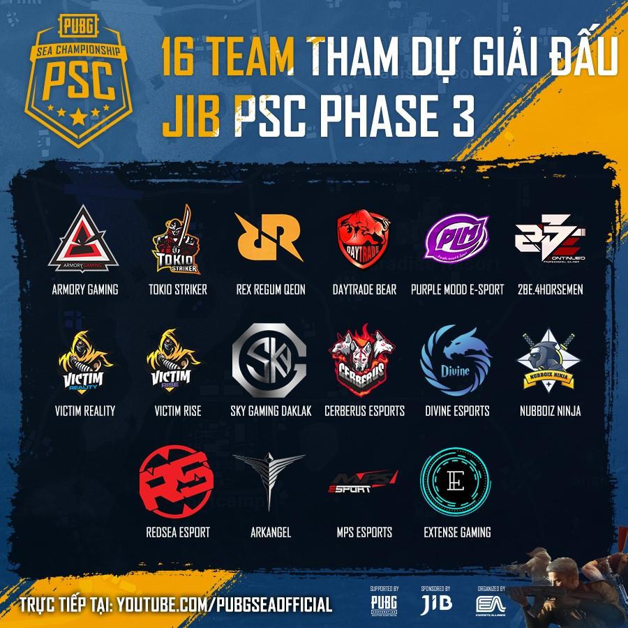 PUBG SEA Championship Phase 3: Danh sách đội tuyển tham dự