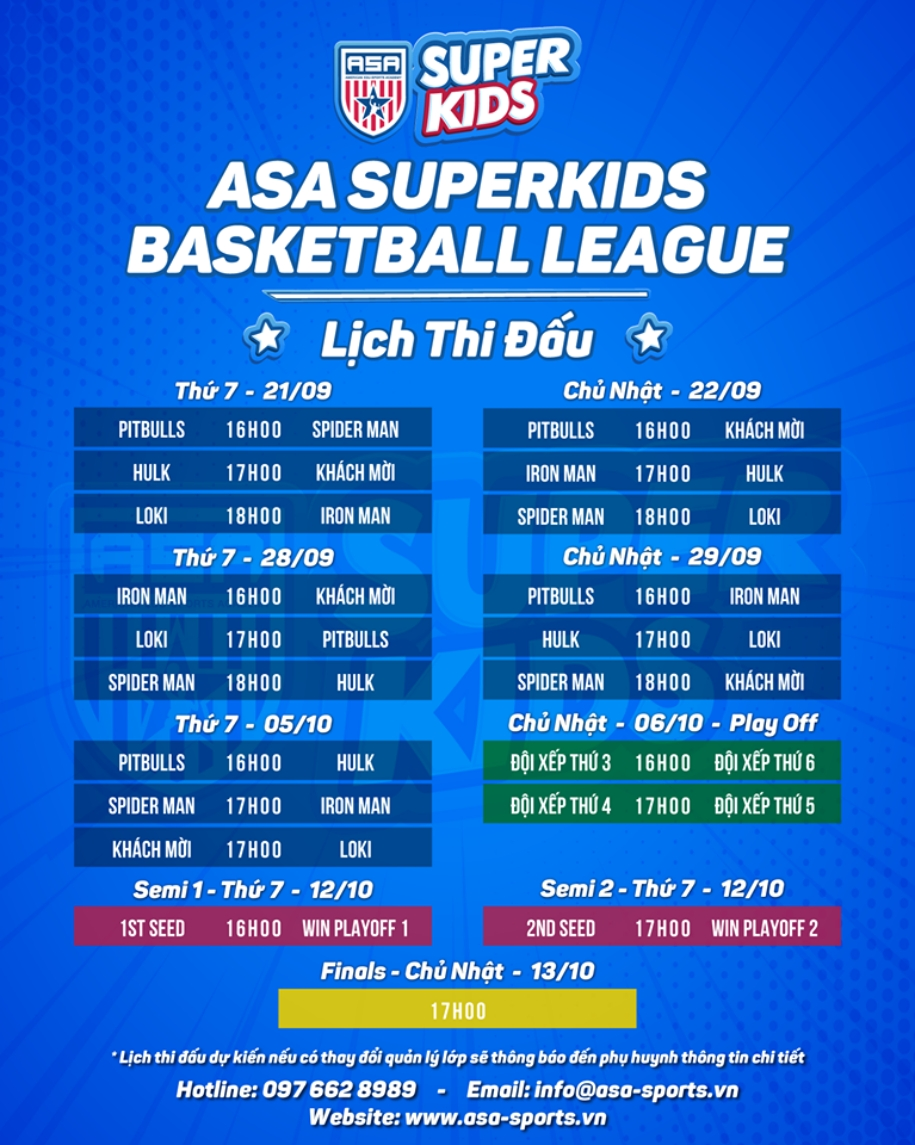 Lịch thi đấu ASA Superkids Basketball League