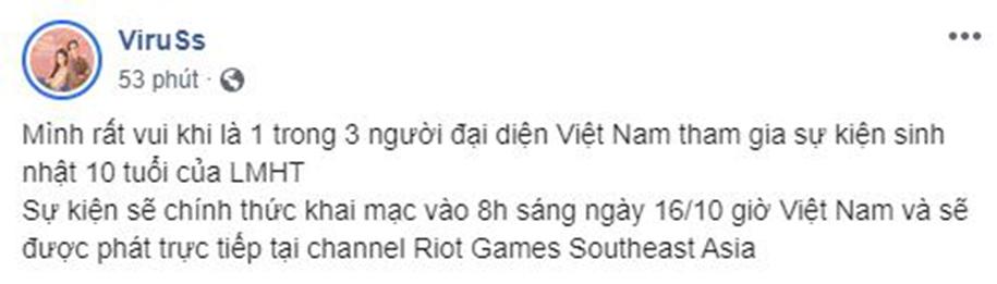 Thầy Giáo Ba cùng Viruss đại diện Việt Nam tham dự sự kiện LMHT 10 tuổi