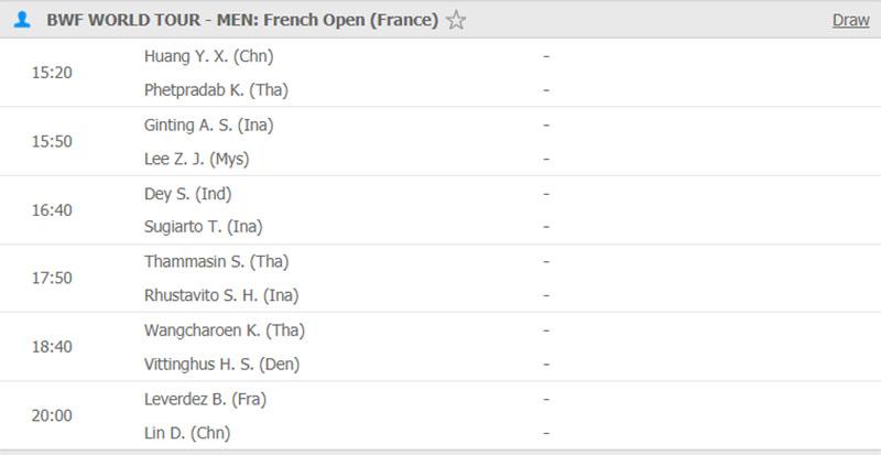 Lịch thi đấu cầu lông hôm nay 22/10: Vòng loại Pháp Mở rộng 2019