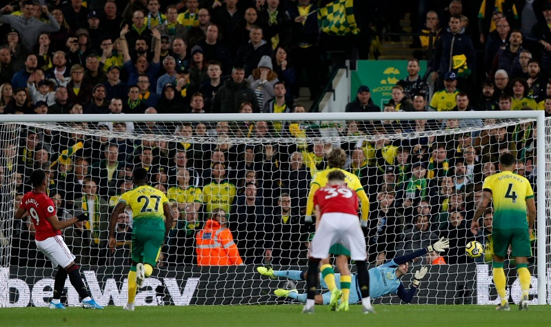 MU lập kỷ lục sút hỏng phạt đền ở trận thắng Norwich