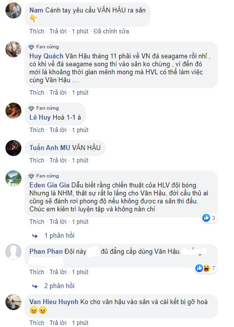 Văn Hậu không được vào sân, người hâm mộ Việt Nam bắt đầu ức chế