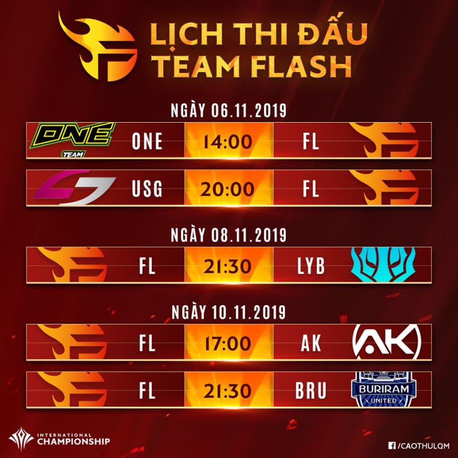 Lịch thi đấu của Team Flash và IGP Gaming tại Liên Quân AIC 2019