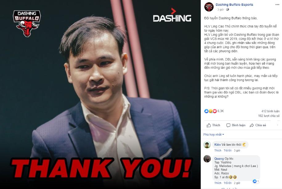 HLV Ling Cao Thủ rời Dashing Buffalo sau 6 tháng gắn bó