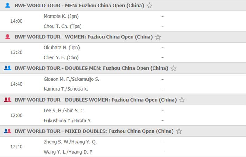 Lịch thi đấu giải cầu lông Trung Quốc mở rộng 2019