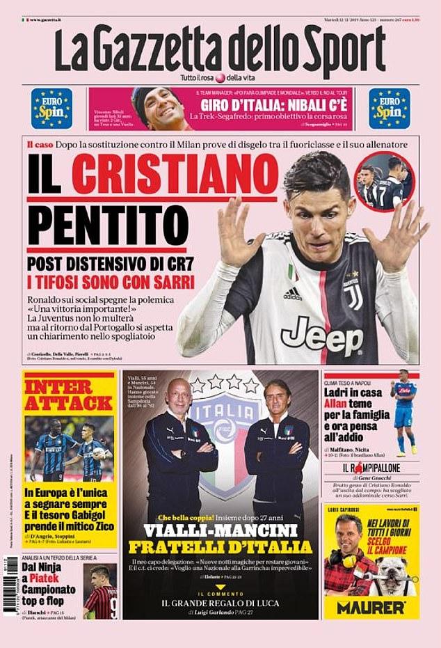 Ronaldo chửi thề HLV Sarri khi bị thay ra sân ở trận Juventus vs Milan