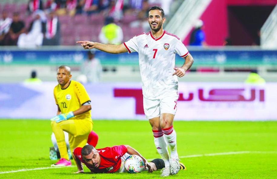 Sát thủ Ali Mabkhout trở lại, UAE tìm lại tự tin với trận thắng đậm Yemen