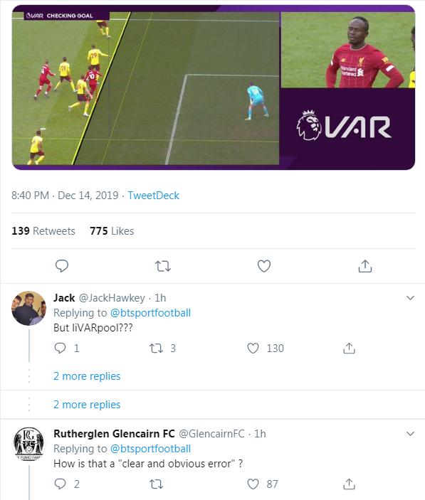 CĐV Liverpool tố công nghệ VAR cướp bàn thắng của Mane vào lưới Watford
