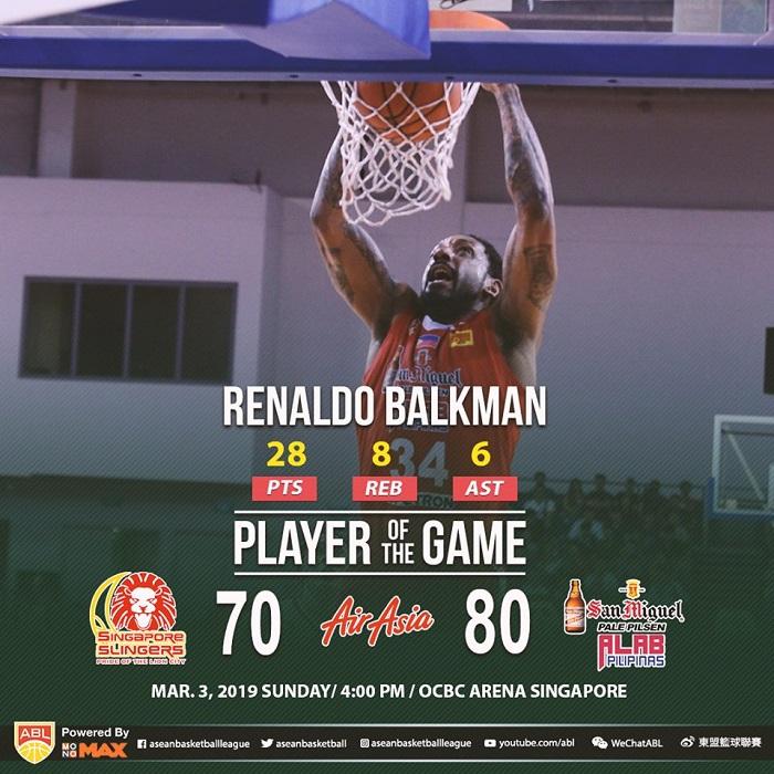 Singapore Slingers 70-80 Alab Pilipinas: Cáo già Renaldo Balkman thể hiện đẳng cấp