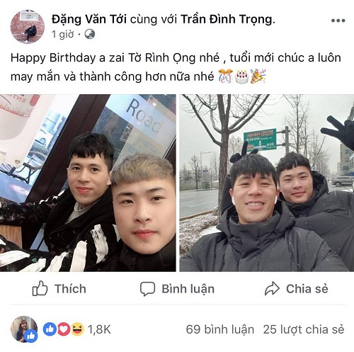 Đình Trọng nhận cơn mưa lời chúc trong ngày sinh nhật