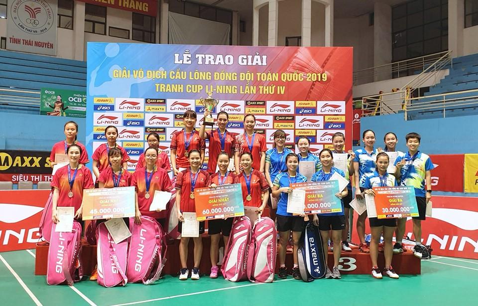 Nam TP.HCM, nữ Thái Bình vô địch Giải cầu lông đồng đội toàn quốc 2019