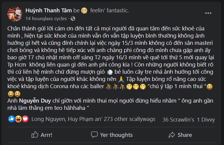 Huỳnh Thanh Tâm phủ nhận tiếp xúc với bệnh nhân COVID-19
