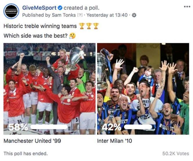 Cú ăn ba của MU được bầu chọn tốt hơn Mourinho với Inter