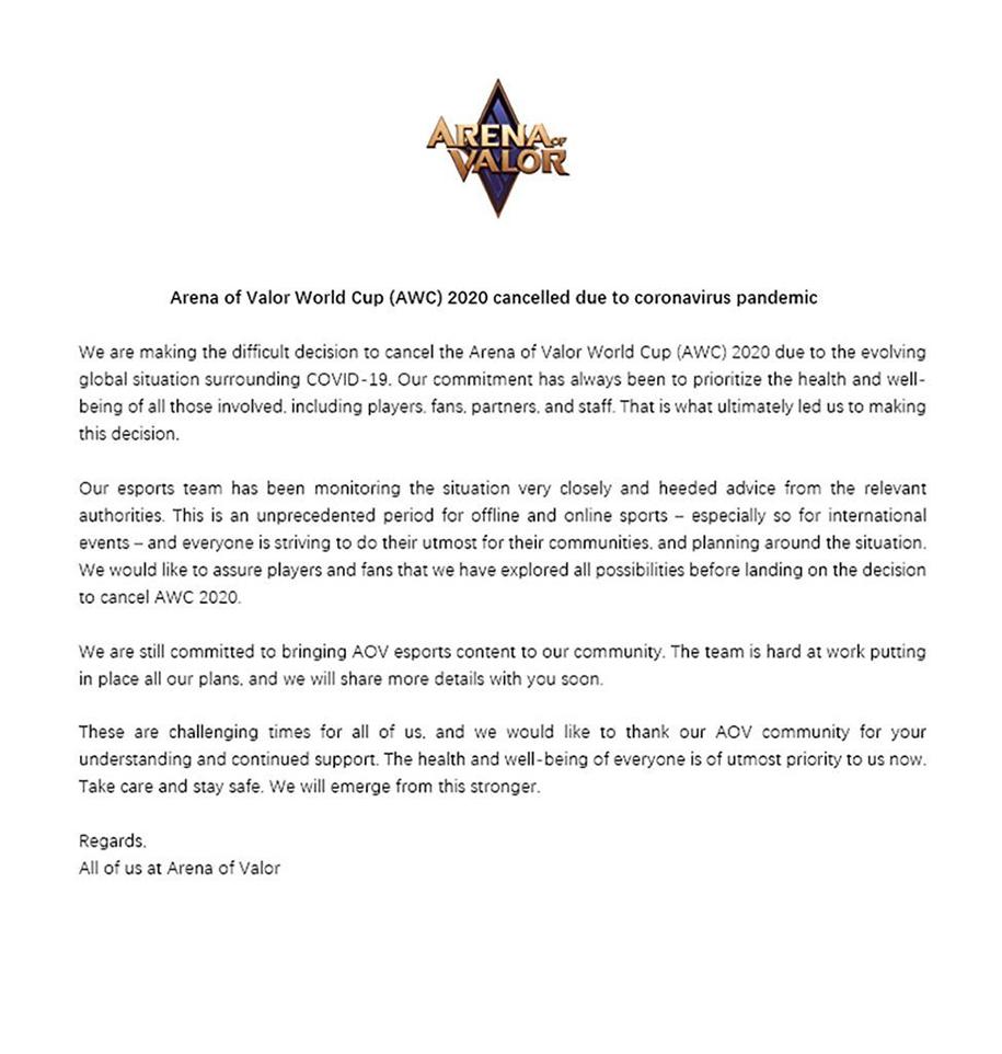 Giải đấu Liên Quân AWC 2020 nhận hung tin vì đại dịch COVID-19