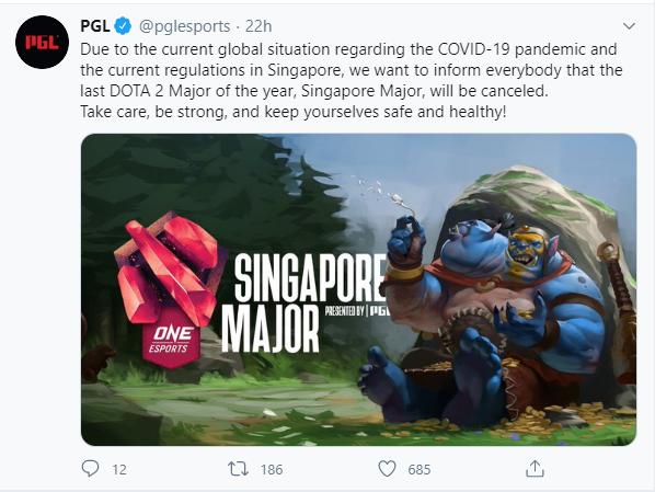 Giải đấu Major Dota 2 cuối cùng của mùa giải 2020 chính thức bị hủy bỏ