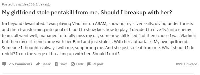 Game thủ LMHT đòi chia tay bạn gái vì cướp Pentakill?